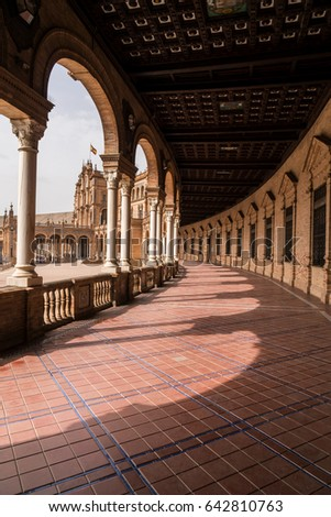 Buildings and Columns, Light and Shadows of the Ibero-American Exposition of 1929 in Seville, Spain