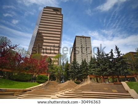 buildings and park - stock photo