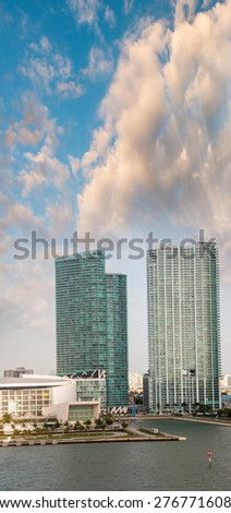 Buildings and skyline of Miami. - stock photo