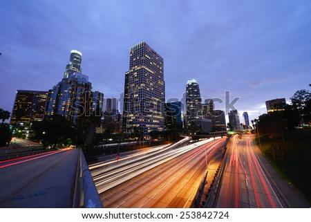 buildings and traffic in downtown in southern california - stock photo