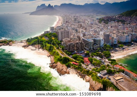 Buildings at the waterfront, Ipanema Beach, Copacabana Beach, Rio de Janeiro, Brazil - stock photo