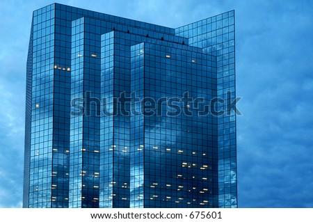 Buildings blue reflections