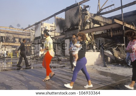 Buildings burned during 1992 riots, South Central Los Angeles, California - stock photo