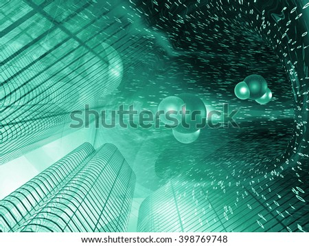 Buildings, digits and molecules - abstract computer background in greens. - stock photo