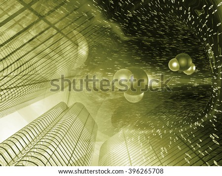 Buildings, digits and molecules - abstract computer background in sepia. - stock photo
