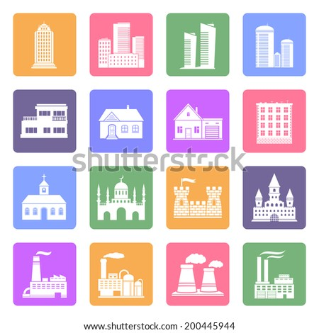 Buildings flat icons set - stock photo