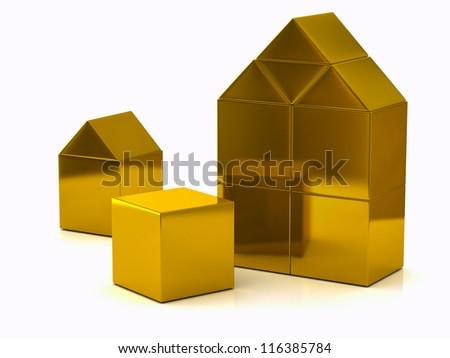 Buildings from golden children blocks 3d - stock photo