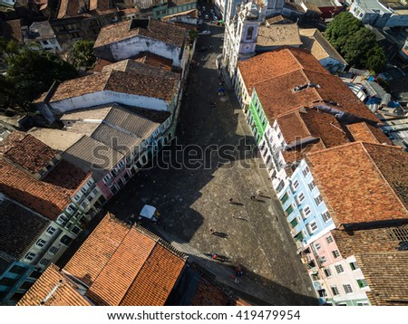 Buildings in a residential neighborhood in Pelourinho in old Salvador, Brazil - stock photo