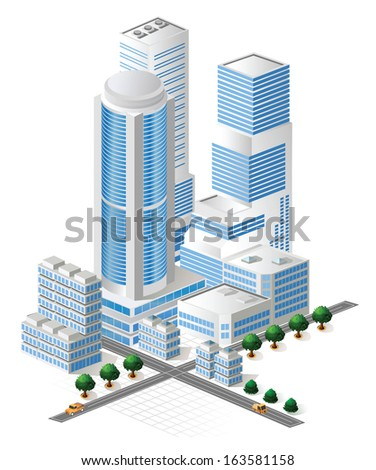 Buildings in blue tones on white background