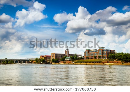 Buildings in downtown Columbus, Georgia, along riverwalk - stock photo