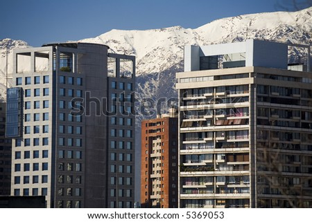 Buildings in downtown Santiago, Chile. - stock photo