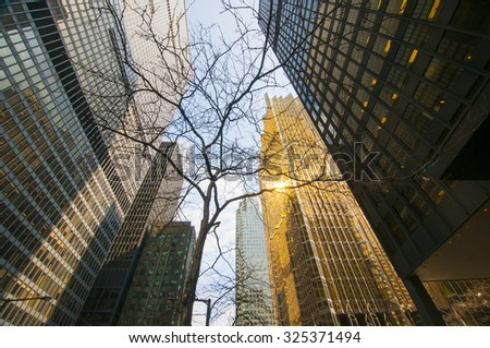 Buildings in financial district in downtown Toronto, Canada. - stock photo
