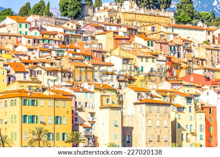 Buildings in Menton, South of France - stock photo