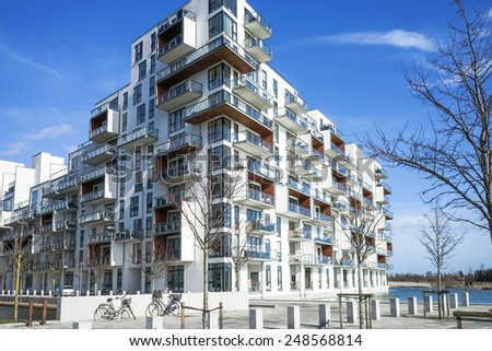 Buildings in modern architecture in the district Oerestad in Copenhagen, Denmark - stock photo