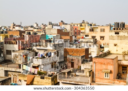 Buildings in New Delhi, India. Living conditions in Delhi - stock photo