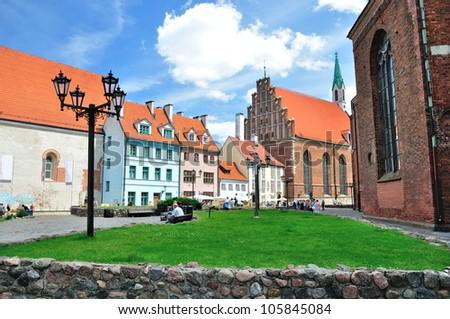 Buildings in Old Town in Riga, Latvia - stock photo