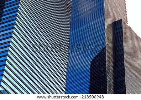 Buildings in Singapore city with blue sky , Singapore - 13 September  2014