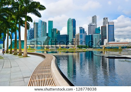 Buildings in Singapore skyline - stock photo