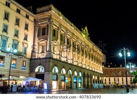 Buildings in the historic centre of Milan - Italy - stock photo