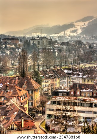 Buildings in the old town of Bern - Switzerland - stock photo