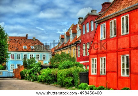Buildings in the old town of Helsingor in Denmark