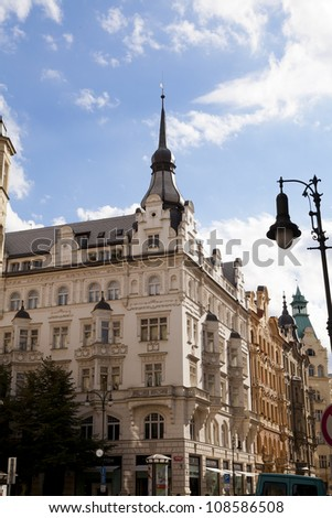 Buildings Jewish Quarter Czech Republic, Prague - stock photo