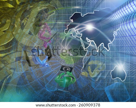 Buildings, mans and map - abstract computer background. - stock photo