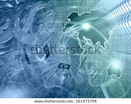 Buildings, mans and map - abstract computer background in greens and blues. - stock photo