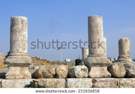 Buildings of Amman Citadel in national historic site in Jordan - stock photo