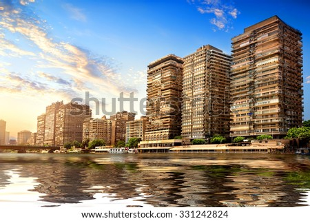 Buildings of Cairo on the bank of Nile - stock photo