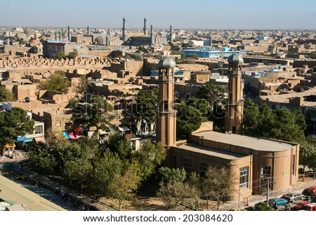 Buildings of Herat, Afghanistan. Herat is the third largest city of Afghanistan, with a population of about 450,000. - stock photo