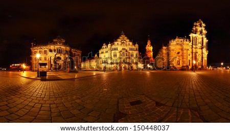 Buildings of historic part of Dresden city at night. Germany