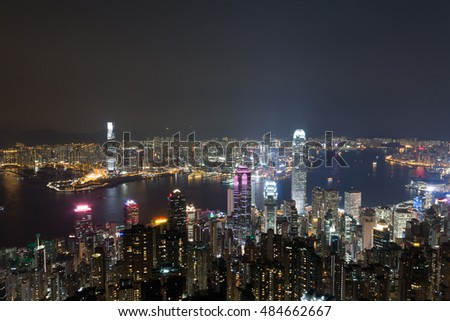 buildings of Hong Kong at night from The Peak
