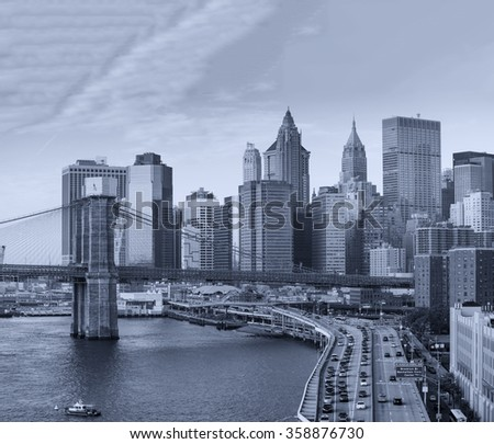 Buildings of Manhattan. New York skyline.