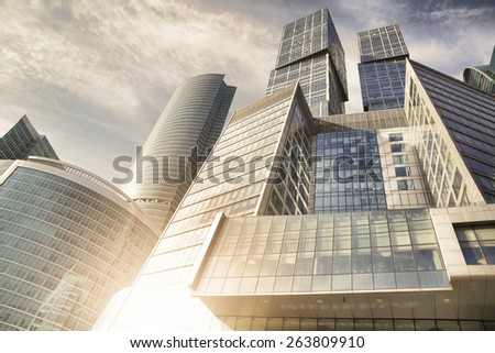 Buildings of Moscow City in the evening, Russia. - stock photo