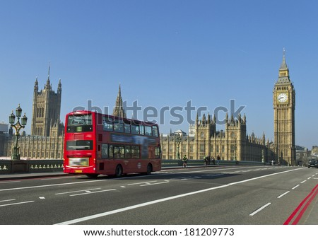 Buildings of Parliament with Big Ban tower in London.