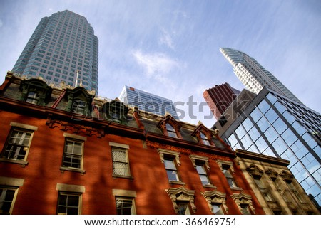 Buildings Old and New Toronto Yonge Street Downtown - stock photo