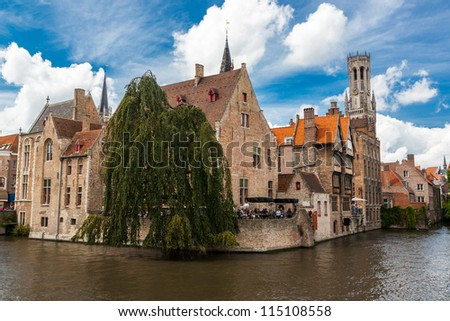 Buildings on canal in Bruges, Belgium