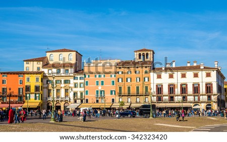 Buildings on Piazza Bra in Verona - Italy - stock photo