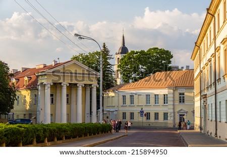 Buildings on Simono Daukanto square in Vilnius, Lithuania - stock photo