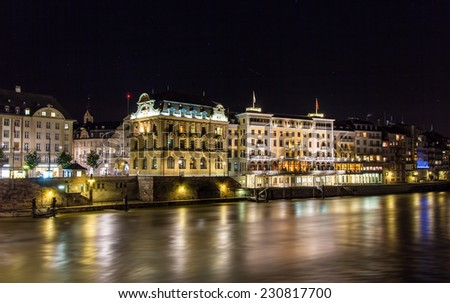Buildings on the right bank of the Rhine in Basel, Switzerland - stock photo