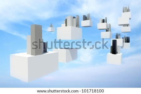 Buildings on white flying box in cloudy sky, Future sky city - stock photo