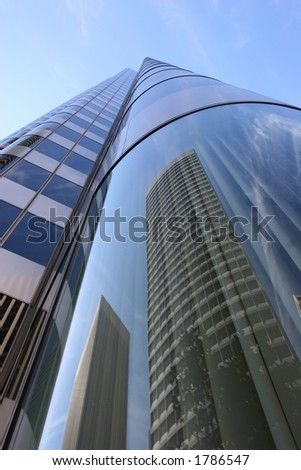 Buildings reflections in San Francisco Financial District.
