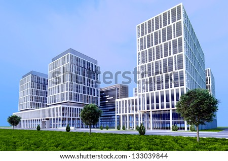 Buildings skyscrapers on a background of blue sky. - stock photo