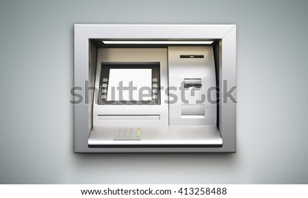 Built-in ATM machine with blank display on grey background. Mock up, 3D Rendering - stock photo