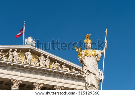 Built In 1883 The Austrian Parliament Building (Parlamentsgebaude) in Vienna is where the two houses of the Austrian Parliament conduct their sessions. - stock photo