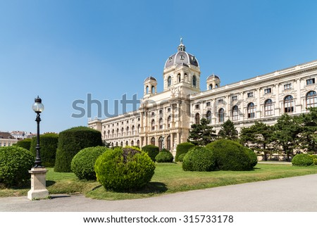 Built In 1889 The Museum of Natural History (Naturhistorisches Museum), also known as the NHMW, is a large natural history museum located in Vienna. - stock photo