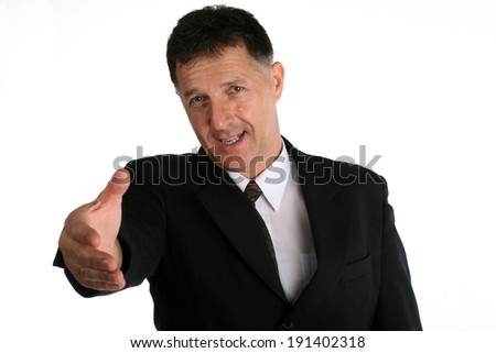 Buisness man with intention to shake hands