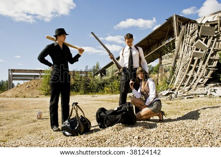 buisness meeting of the gangsters - stock photo