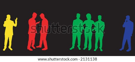 Buisness people silhouettes - stock photo
